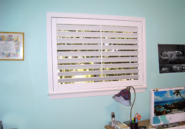 My office after having plantation shutters installed