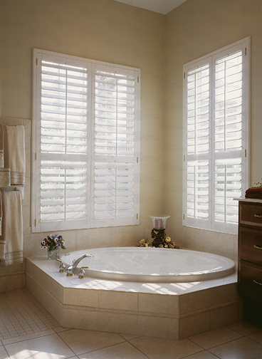 Shutters are excellent for privacy in the bathroom