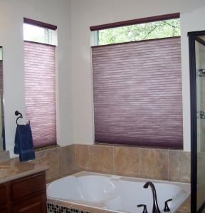 Master bathroom windows with honeycomb shades