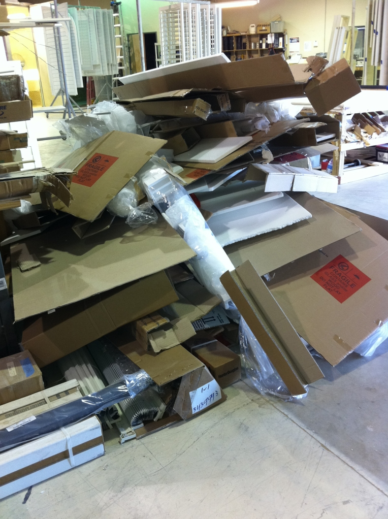 This huge pile of trash is the packaging from one order of Chinese shutters